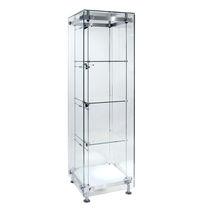 Vitrina moderna / de vidrio / de acero inoxidable / con luz