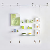 Sistema de repisas suspendido / moderno / de vidrio / para comercio
