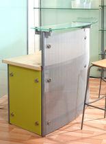 Mostrador de recepción con luz / de madera / de vidrio