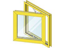 Ventana basculante / de aluminio / de corte térmico / para edificio comercial