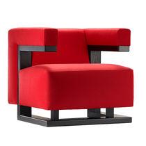 Sillón de diseño Bauhaus / de nogal / de tejido / de cuero