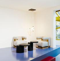 Mesa de centro moderna / de MDF lacado / redonda / para edificio público