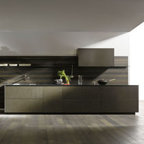 Cocina moderna / de acero inoxidable / de chapa de madera