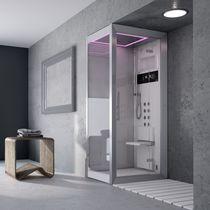 Cabina de ducha hidromasaje / de vidrio / para cromoterapia / de esquina