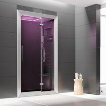 Cabina de ducha multiusos / hidromasaje / de vidrio / para cromoterapia