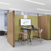 Tabique amovible / de tela / de madera / para oficina
