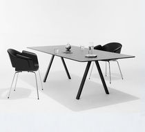 Mesa de reuniones moderna / de roble / de acero / rectangular