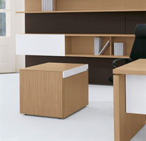 Cajonera de oficina de aluminio / de madera / de vidrio / con 2 cajones