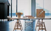 Mesa de trabajo moderna / de haya / de vidrio templado / de material laminado