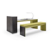 Conjunto de mesa y banco moderno / de madera / de tejido / de interior