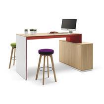 Mesa alta moderna / de chapa de madera / de melamina / de tejido