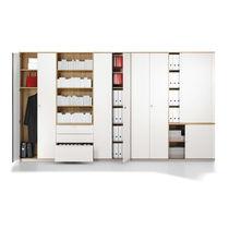 Armario de oficina alto / de chapa de madera / con puerta abatible / modular