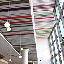 Falso techo de aluminio / de acero / en láminas / acústico