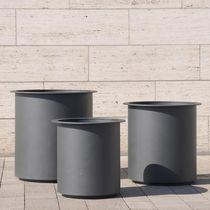 Jardinera de acero inoxidable / redonda / moderna / para espacio público