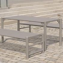 Mesa moderna / de acero inoxidable / rectangular / de exterior