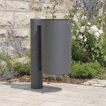 Cubo de basura público / de acero inoxidable / con cenicero integrado / moderno