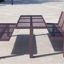 Mesa de pícnic moderna / de acero inoxidable / rectangular / para espacio público