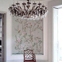 Papeles pintados orientales / de seda / con motivos florales / con motivos animales