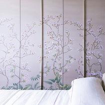 Papeles pintados orientales / de seda / con motivos florales / hechos a mano