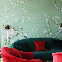 Papeles pintados clásicos / de seda / con motivos florales / chinoiserie