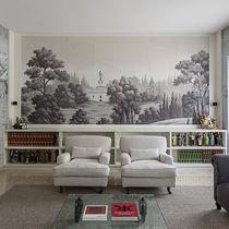 Papeles pintados orientales / de seda / con motivos de la naturaleza / panorámicos