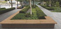 Jardinera de acero Corten / de madera / rectangular / redonda