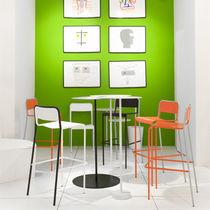 Mesa alta moderna / de metal pintado / redonda / de exterior