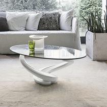 Mesa de centro moderna / de vidrio / de vidrio templado / ovalada