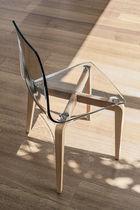 Silla moderna / de madera / de policarbonato / transparente