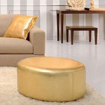 Puf moderno / de cuero artificial / redondo / dorado