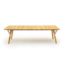 Mesa de comedor moderna / de teca / de acero con revestimiento en polvo / de HPL