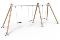 Columpio de madera / múltiple / para parque infantil