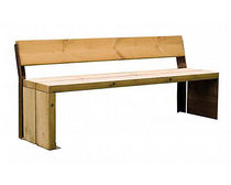 Banco público / moderno / de chapa de acero / de madera