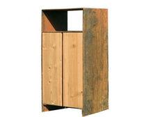 Cubo de basura público / de acero COR-TEN® / de pino / con cenicero integrado