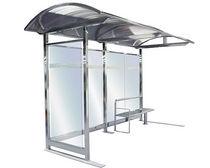 Parada de autobus de acero inoxidable / de policarbonato / de vidrio