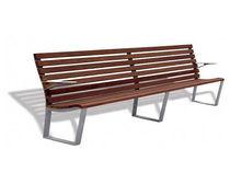 Banco público / moderno / de aluminio fundido / de madera