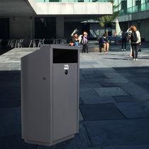 Cubo de basura público / de metal / de chapa de acero / moderno