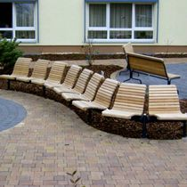 Hileras de sillas de madera / de acero / multiplaza / de exterior