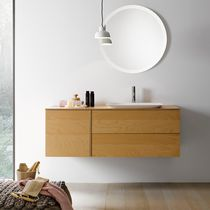 Mueble de lavabo suspendido / de madera / de HPL / moderno