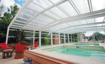 Cubierta para piscina alta / telescópica / de aluminio / con accionamiento manual