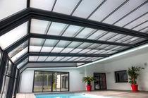 Cubierta para piscina adosadas / telescópica / de acero inoxidable / con accionamiento manual