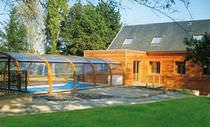 Cubierta para piscina alta / telescópica / de madera / con accionamiento manual