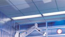 Falso techo de fibra mineral / tipo panel / perforado / para sala blanca