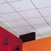 Falso techo de fibra mineral / tipo panel / acústico / perforado