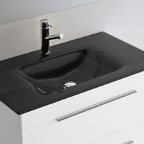 Lavabo doble / encastrable / rectangular / de vidrio