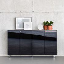 Armario de oficina bajo / de madera / con puerta abatible / modular