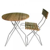 Conjunto de mesa y silla moderno / acero inoxidable / de madera / para exterior