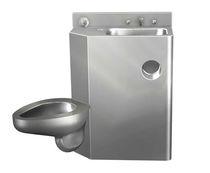 Inodoro de pie / de acero inoxidable / con lavabo integrado / para baño público