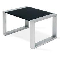 Mesa de centro moderna / de teca / de vidrio templado / de acero inoxidable pulido