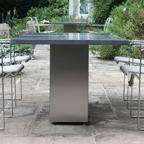 Mesa de comedor moderna / de vidrio / de pizarra / de teca